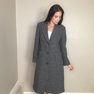 Vintage Gray Knit Tweed Long Pea Coat Jacket